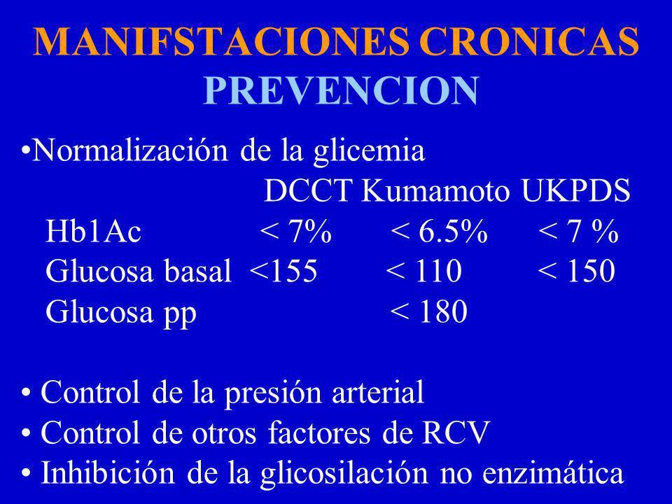 MANIFSTACIONES CRONICAS PREVENCION Normalización de la glicemia DCCT Kumamoto UKPDS Hb1Ac < 7% < 6.5% < 7 % Glucosa basal <155 < 110 < 150 Glucosa pp < 180 Control de la presión arterial Control de otros factores de RCV Inhibición de la glicosilación no enzimática