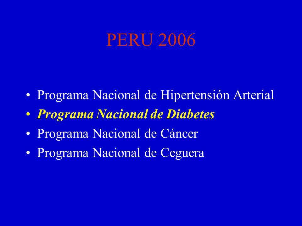 PERU 2006 Programa Nacional de Hipertensión Arterial Programa Nacional de Diabetes Programa Nacional de Cáncer Programa Nacional de Ceguera