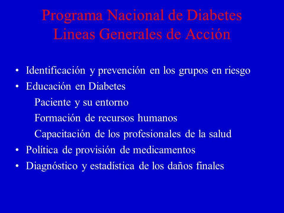 Programa Nacional de Diabetes Lineas Generales de Acción Identificación y prevención en los grupos en riesgo Educación en Diabetes Paciente y su entorno Formación de recursos humanos Capacitación de los profesionales de la salud Política de provisión de medicamentos Diagnóstico y estadística de los daños finales