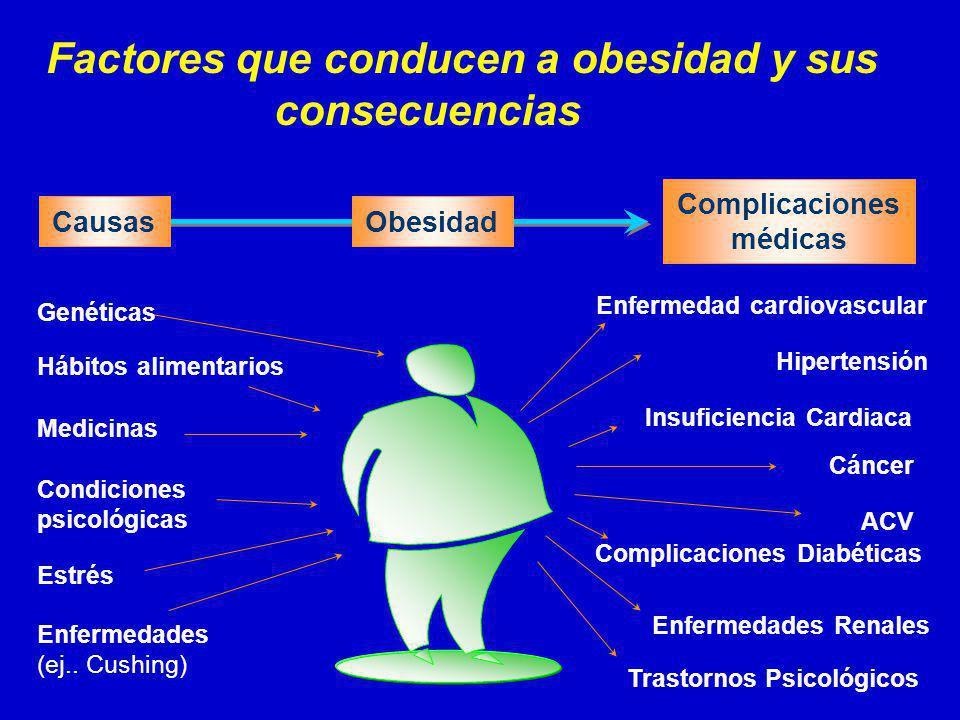 CausasObesidad Complicaciones médicas Factores que conducen a obesidad y sus consecuencias Enfermedad cardiovascular Hábitos alimentarios Medicinas Condiciones psicológicas Estrés Enfermedades (ej..