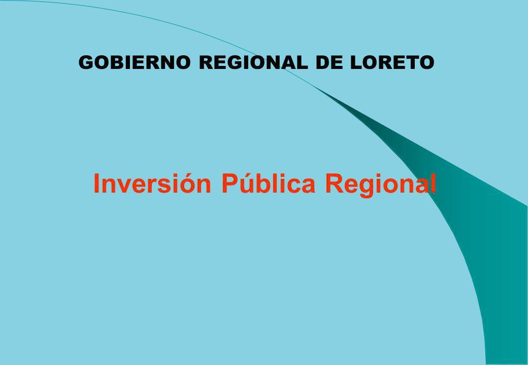 Inversión Pública Regional GOBIERNO REGIONAL DE LORETO