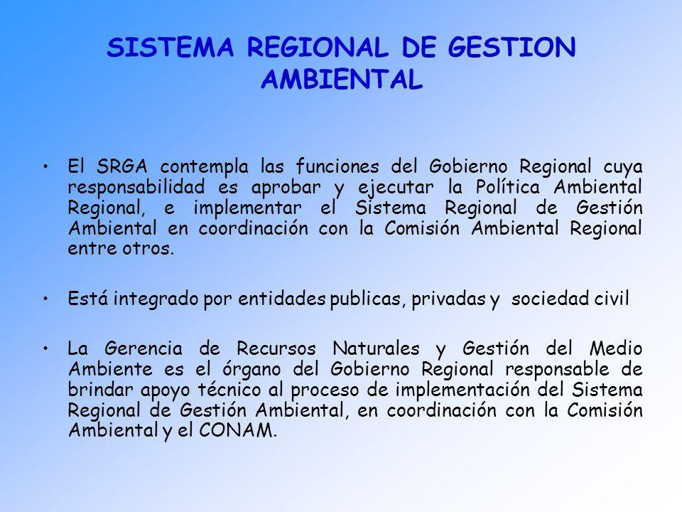 SISTEMA REGIONAL DE GESTION AMBIENTAL El SRGA contempla las funciones del Gobierno Regional cuya responsabilidad es aprobar y ejecutar la Política Amb