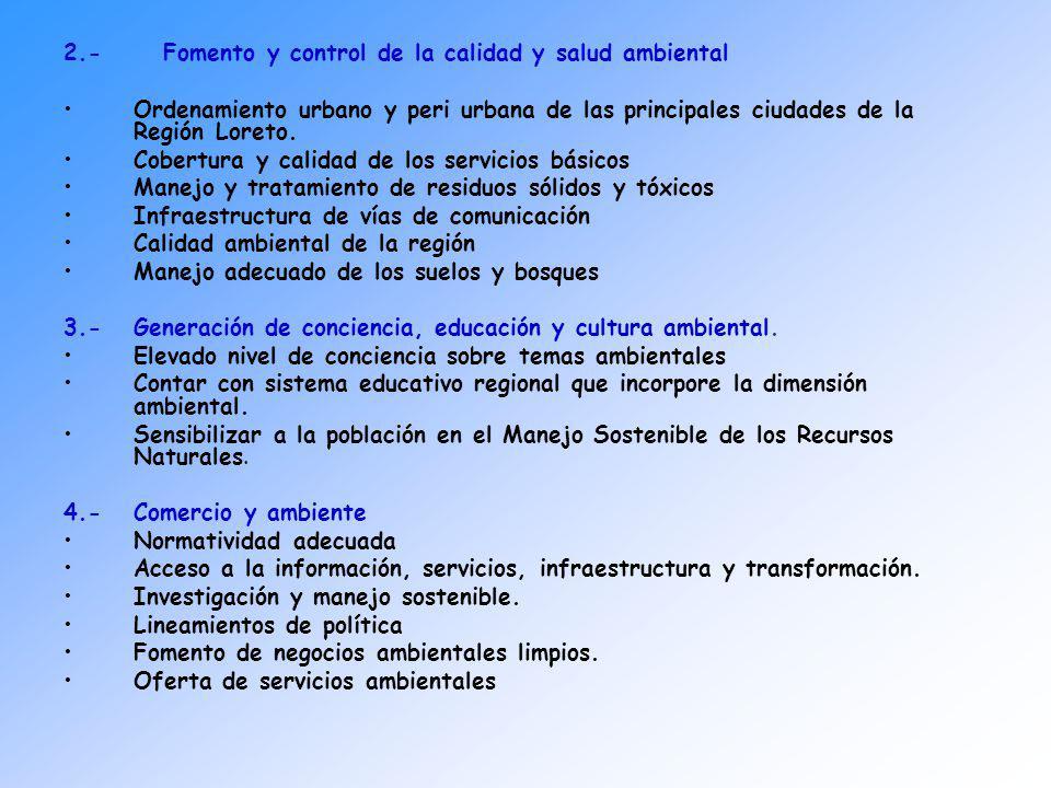 2.- Fomento y control de la calidad y salud ambiental Ordenamiento urbano y peri urbana de las principales ciudades de la Región Loreto. Cobertura y c