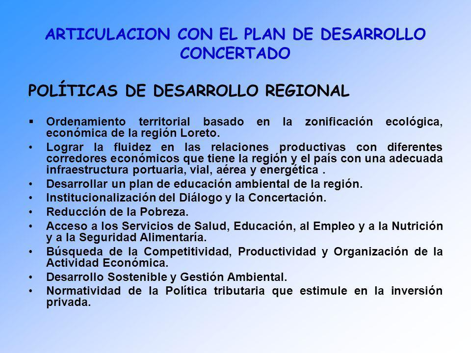 ARTICULACION CON EL PLAN DE DESARROLLO CONCERTADO POLÍTICAS DE DESARROLLO REGIONAL Ordenamiento territorial basado en la zonificación ecológica, econó