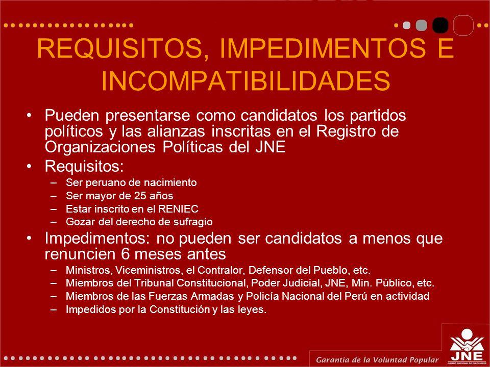 REQUISITOS, IMPEDIMENTOS E INCOMPATIBILIDADES Pueden presentarse como candidatos los partidos políticos y las alianzas inscritas en el Registro de Org