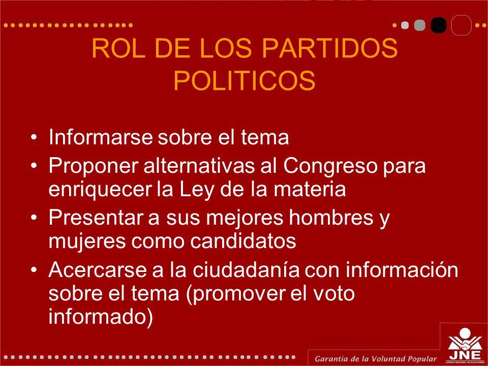 ROL DE LOS PARTIDOS POLITICOS Informarse sobre el tema Proponer alternativas al Congreso para enriquecer la Ley de la materia Presentar a sus mejores