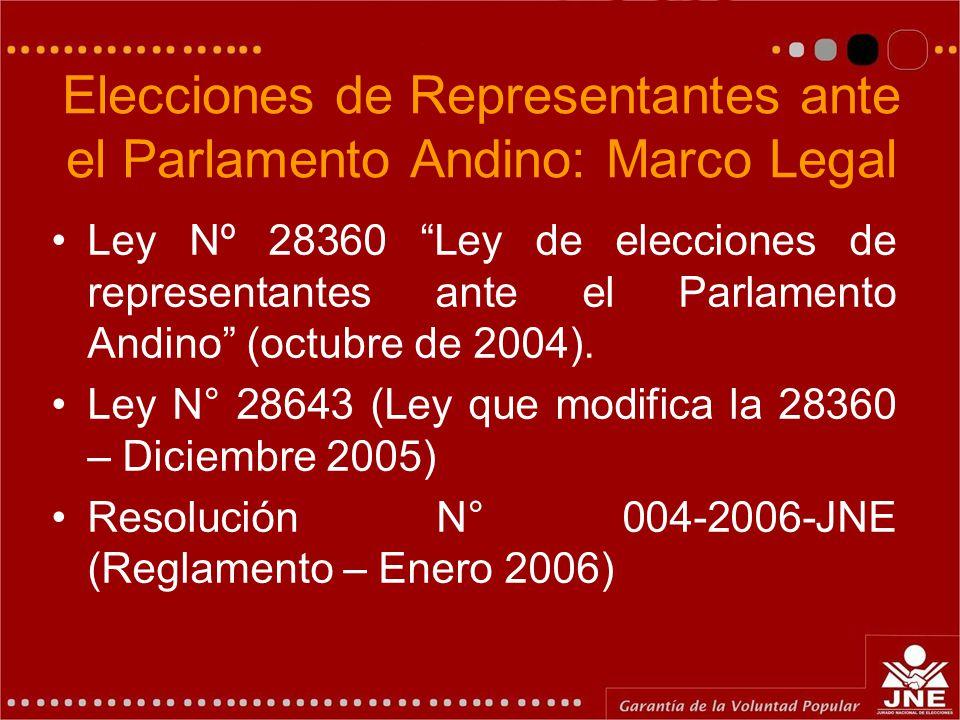 Elecciones de Representantes ante el Parlamento Andino: Marco Legal Ley Nº 28360 Ley de elecciones de representantes ante el Parlamento Andino (octubr
