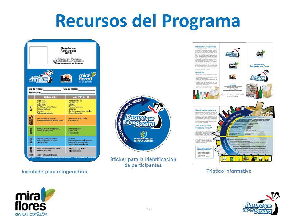 Recursos del Programa Imantado para refrigeradora Sticker para la identificación de participantes 10 Tríptico informativo