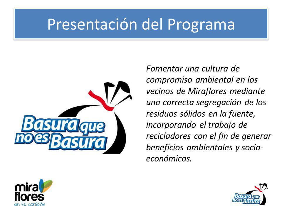 Presentación del Programa Fomentar una cultura de compromiso ambiental en los vecinos de Miraflores mediante una correcta segregación de los residuos sólidos en la fuente, incorporando el trabajo de recicladores con el fin de generar beneficios ambientales y socio- económicos.
