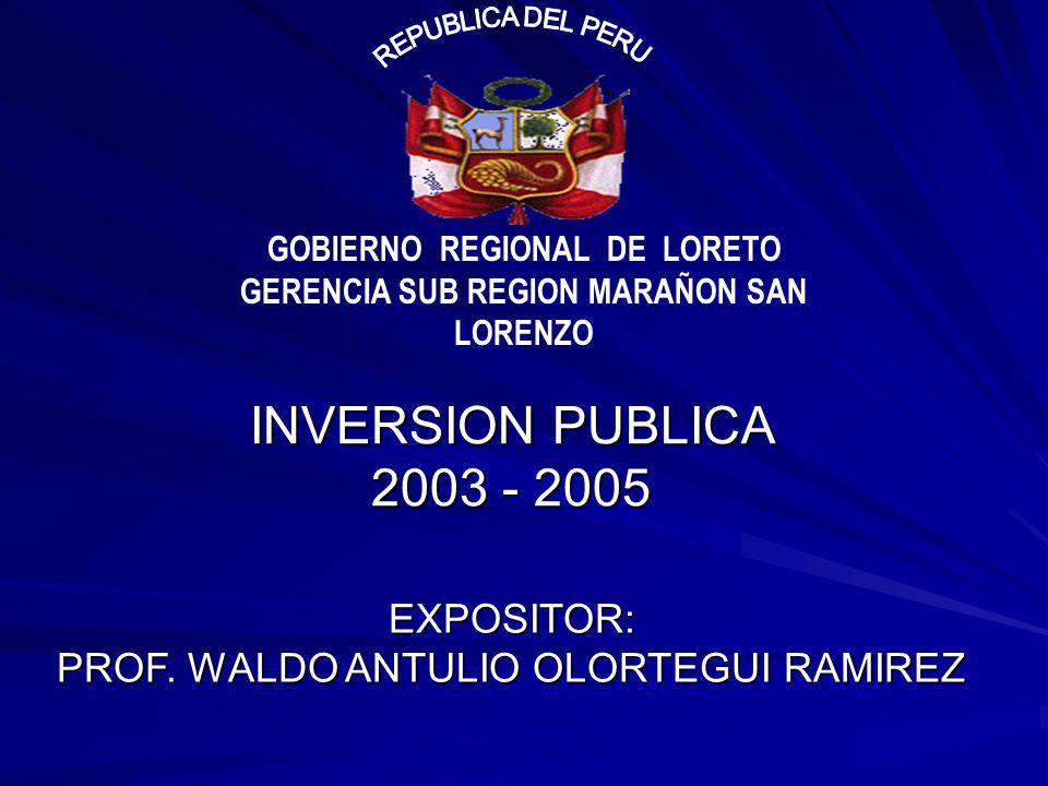 INVERSION PUBLICA 2003 - 2005 GOBIERNO REGIONAL DE LORETO GERENCIA SUB REGION MARAÑON SAN LORENZO EXPOSITOR: PROF. WALDO ANTULIO OLORTEGUI RAMIREZ