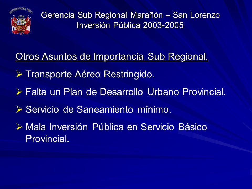 Gerencia Sub Regional Marañón – San Lorenzo Inversión Pública 2003-2005 Otros Asuntos de Importancia Sub Regional. Transporte Aéreo Restringido. Falta