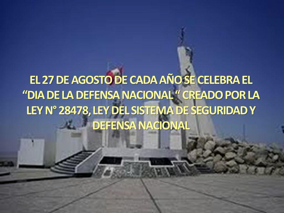 LA DEFENSA NACIONAL CONSTITUYE EL CONJUNTO DE PREVISIONES, DECISIONES Y ACCIONES QUE EL GOBIERNO GENERA Y EJECUTA PERMANENTEMENTE PARA LOGRAR Y MANTENER LA SEGURIDAD NACIONAL Y ALCANZAR SUS OBJETIVOS, ACCIÓN INTEGRAL OBLIGATORIA QUE COMPROMETE LA PARTICIPACIÓN DE TODOS LOS PERUANOS.