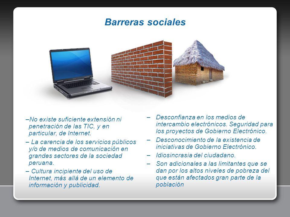 –Desconfianza en los medios de intercambio electrónicos. Seguridad para los proyectos de Gobierno Electrónico. –Desconocimiento de la existencia de in