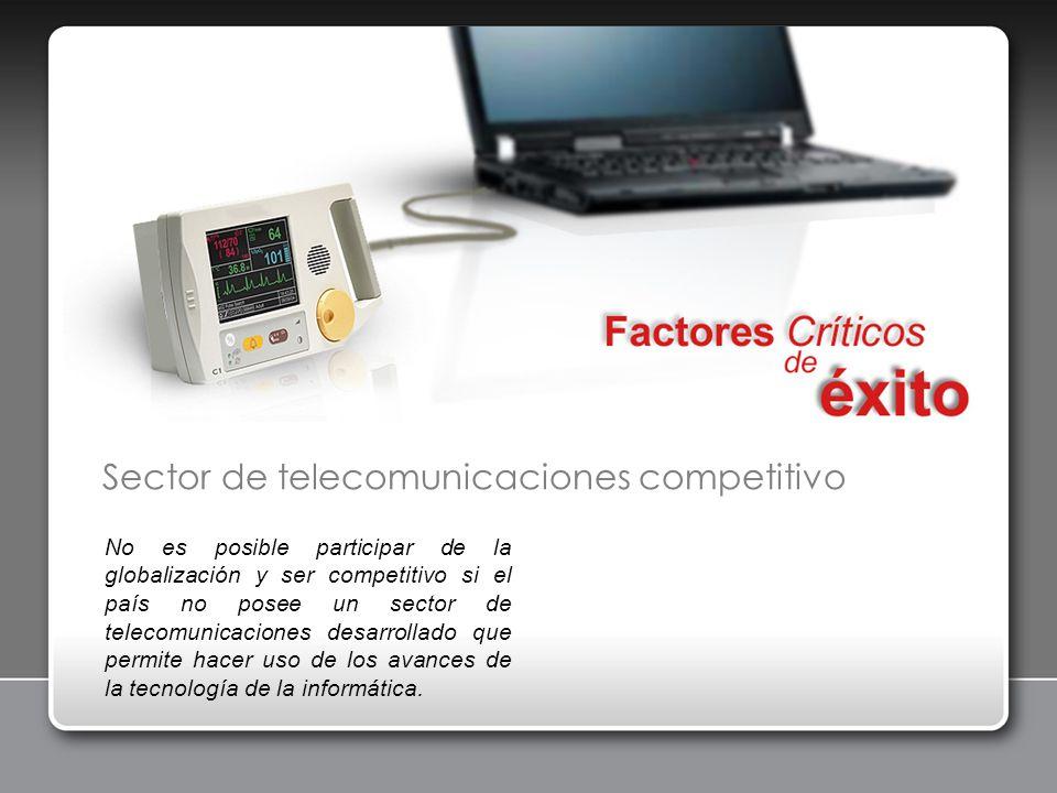 Sector de telecomunicaciones competitivo No es posible participar de la globalización y ser competitivo si el país no posee un sector de telecomunicac