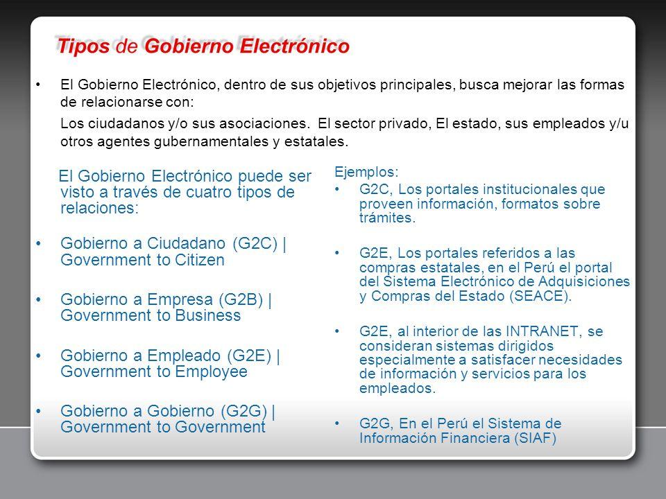 El Gobierno Electrónico puede ser visto a través de cuatro tipos de relaciones: Gobierno a Ciudadano (G2C) | Government to Citizen Gobierno a Empresa