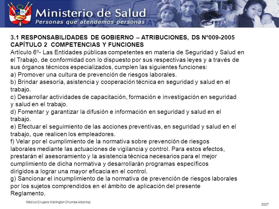 CAPÍTULO 2 COMPETENCIAS Y FUNCIONES Artículo 6º- Las Entidades públicas competentes en materia de Seguridad y Salud en el Trabajo, de conformidad con