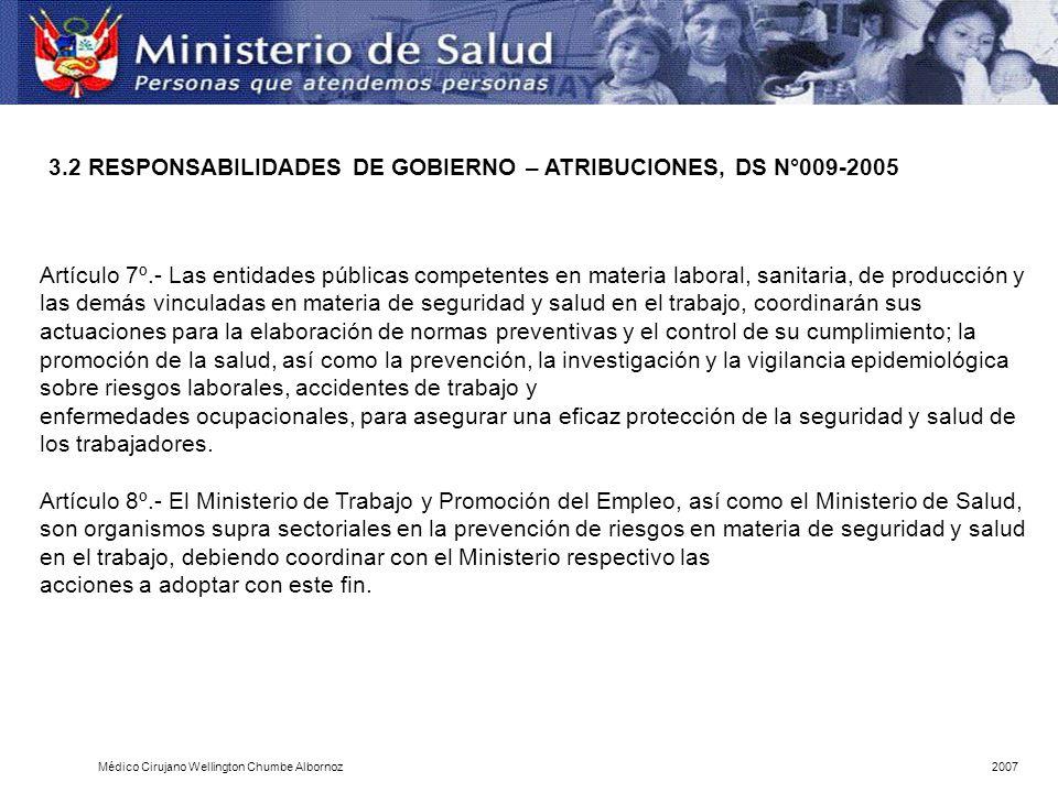 Artículo 7º.- Las entidades públicas competentes en materia laboral, sanitaria, de producción y las demás vinculadas en materia de seguridad y salud e