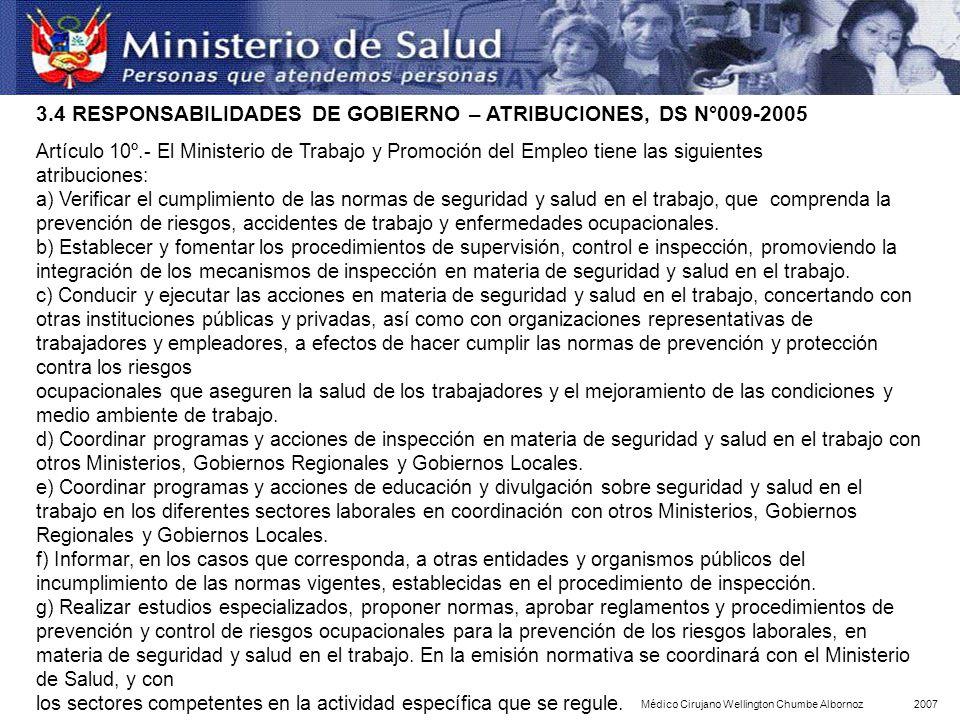 Artículo 10º.- El Ministerio de Trabajo y Promoción del Empleo tiene las siguientes atribuciones: a) Verificar el cumplimiento de las normas de seguri