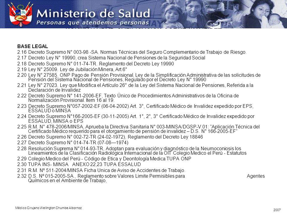 NORMATIVIDAD CALIFICACION SOBRE INVALIDEZ BASE LEGAL 2.16Decreto Supremo N° 003-98 -SA.