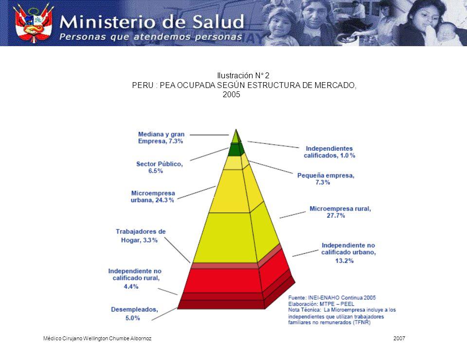 Ilustración N° 2 PERU : PEA OCUPADA SEGÚN ESTRUCTURA DE MERCADO, 2005 Médico Cirujano Wellington Chumbe Albornoz2007