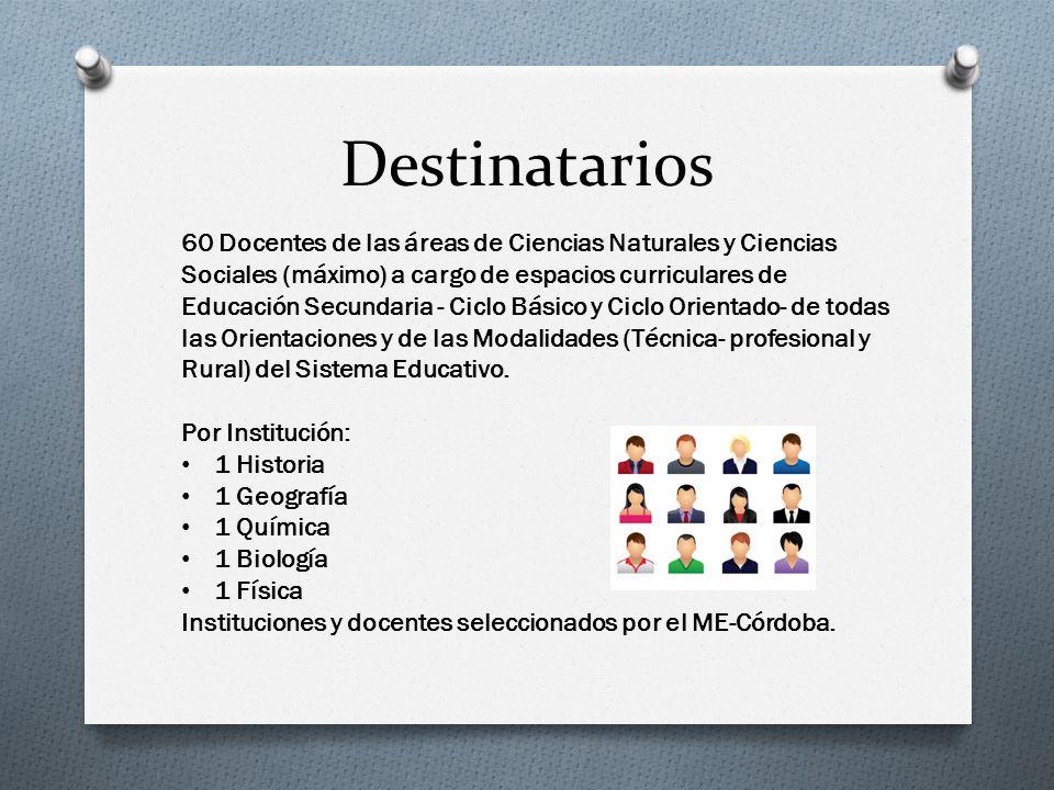 Destinatarios 60 Docentes de las áreas de Ciencias Naturales y Ciencias Sociales (máximo) a cargo de espacios curriculares de Educación Secundaria - C