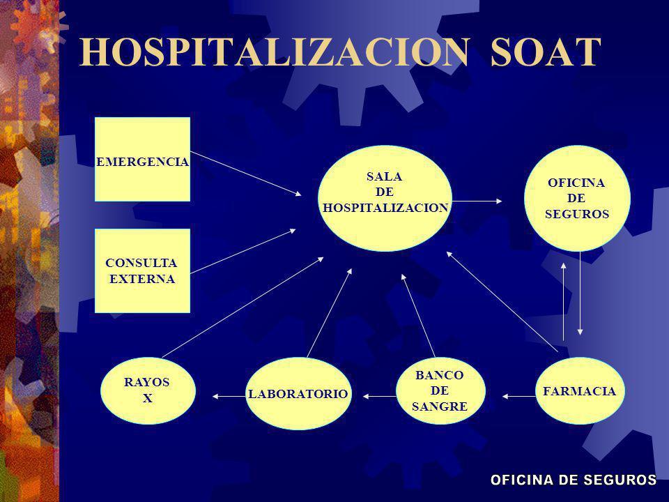 HOSPITALIZACION SOAT SALA DE HOSPITALIZACION RAYOS X LABORATORIO FARMACIA BANCO DE SANGRE OFICINA DE SEGUROS CONSULTA EXTERNA EMERGENCIA