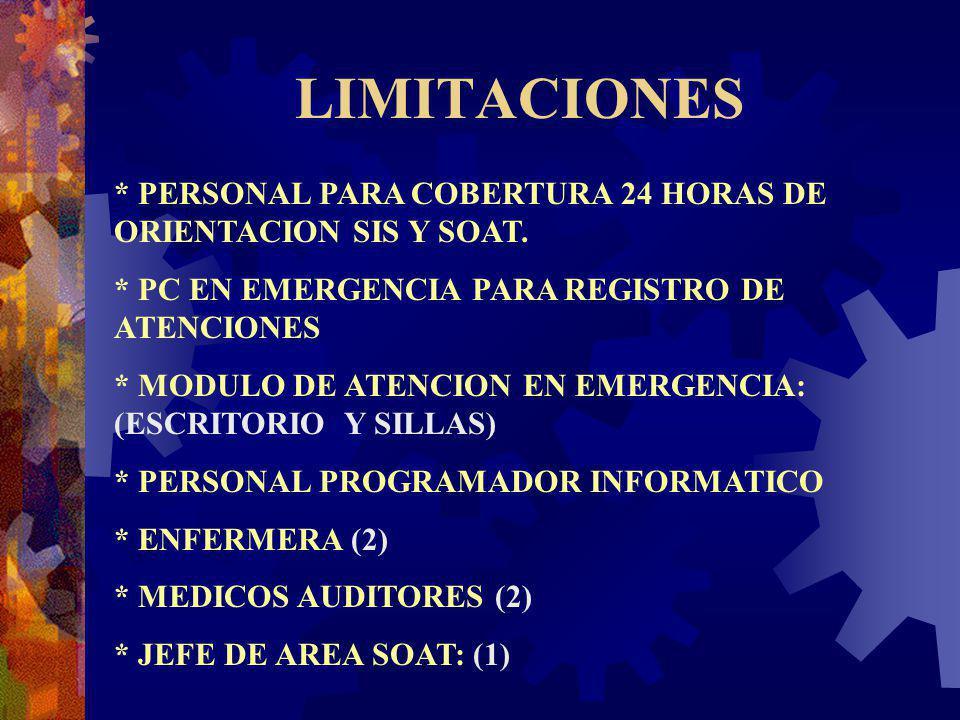 LIMITACIONES * PERSONAL PARA COBERTURA 24 HORAS DE ORIENTACION SIS Y SOAT. * PC EN EMERGENCIA PARA REGISTRO DE ATENCIONES * MODULO DE ATENCION EN EMER