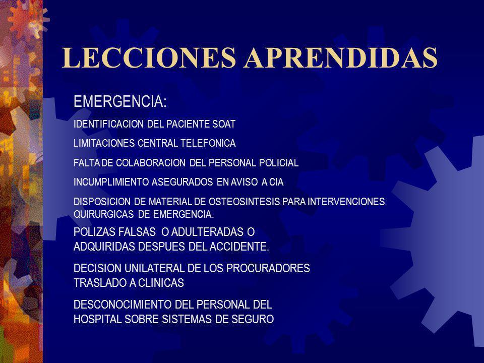 LECCIONES APRENDIDAS EMERGENCIA: IDENTIFICACION DEL PACIENTE SOAT LIMITACIONES CENTRAL TELEFONICA FALTA DE COLABORACION DEL PERSONAL POLICIAL INCUMPLI