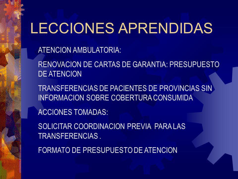 LECCIONES APRENDIDAS ATENCION AMBULATORIA: RENOVACION DE CARTAS DE GARANTIA: PRESUPUESTO DE ATENCION TRANSFERENCIAS DE PACIENTES DE PROVINCIAS SIN INF