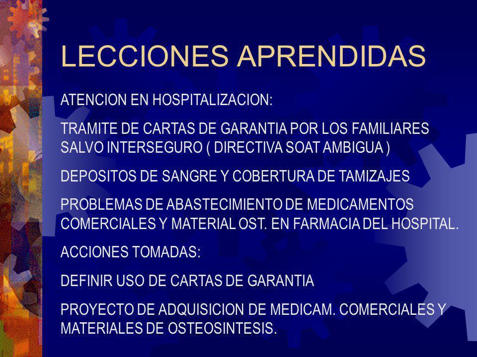 LECCIONES APRENDIDAS ATENCION EN HOSPITALIZACION: TRAMITE DE CARTAS DE GARANTIA POR LOS FAMILIARES SALVO INTERSEGURO ( DIRECTIVA SOAT AMBIGUA ) DEPOSI