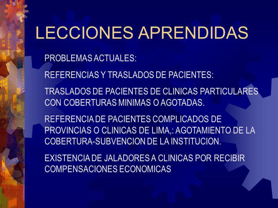 LECCIONES APRENDIDAS PROBLEMAS ACTUALES: REFERENCIAS Y TRASLADOS DE PACIENTES: TRASLADOS DE PACIENTES DE CLINICAS PARTICULARES CON COBERTURAS MINIMAS