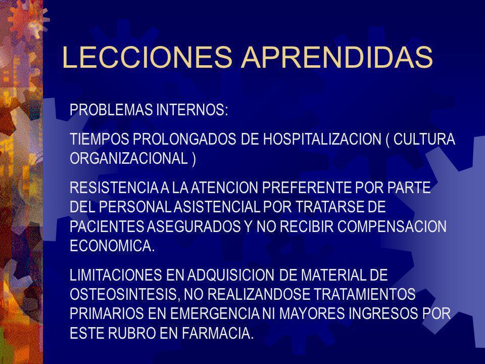 LECCIONES APRENDIDAS PROBLEMAS INTERNOS: TIEMPOS PROLONGADOS DE HOSPITALIZACION ( CULTURA ORGANIZACIONAL ) RESISTENCIA A LA ATENCION PREFERENTE POR PA