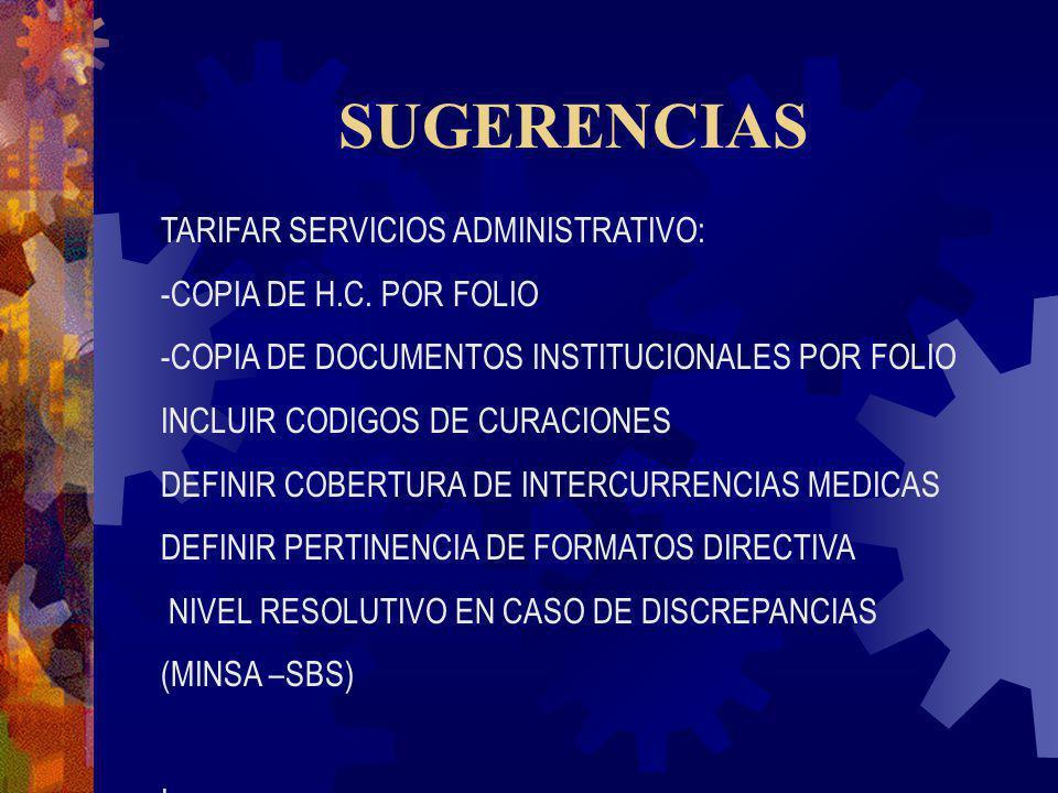 SUGERENCIAS TARIFAR SERVICIOS ADMINISTRATIVO: -COPIA DE H.C. POR FOLIO -COPIA DE DOCUMENTOS INSTITUCIONALES POR FOLIO INCLUIR CODIGOS DE CURACIONES DE