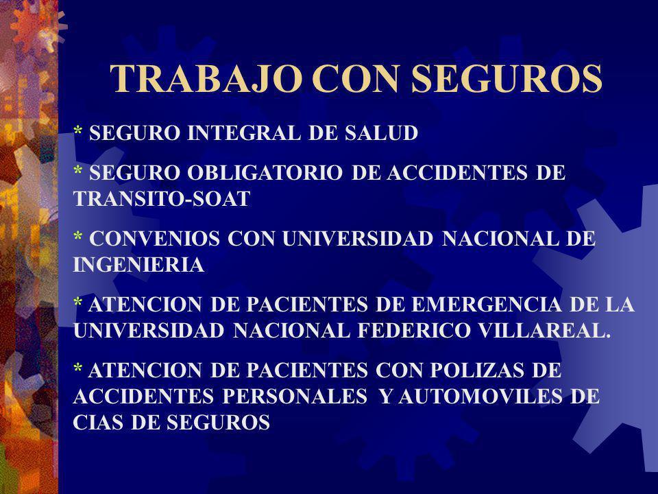 TRABAJO CON SEGUROS * SEGURO INTEGRAL DE SALUD * SEGURO OBLIGATORIO DE ACCIDENTES DE TRANSITO-SOAT * CONVENIOS CON UNIVERSIDAD NACIONAL DE INGENIERIA