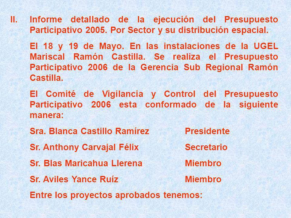 II.Informe detallado de la ejecución del Presupuesto Participativo 2005.