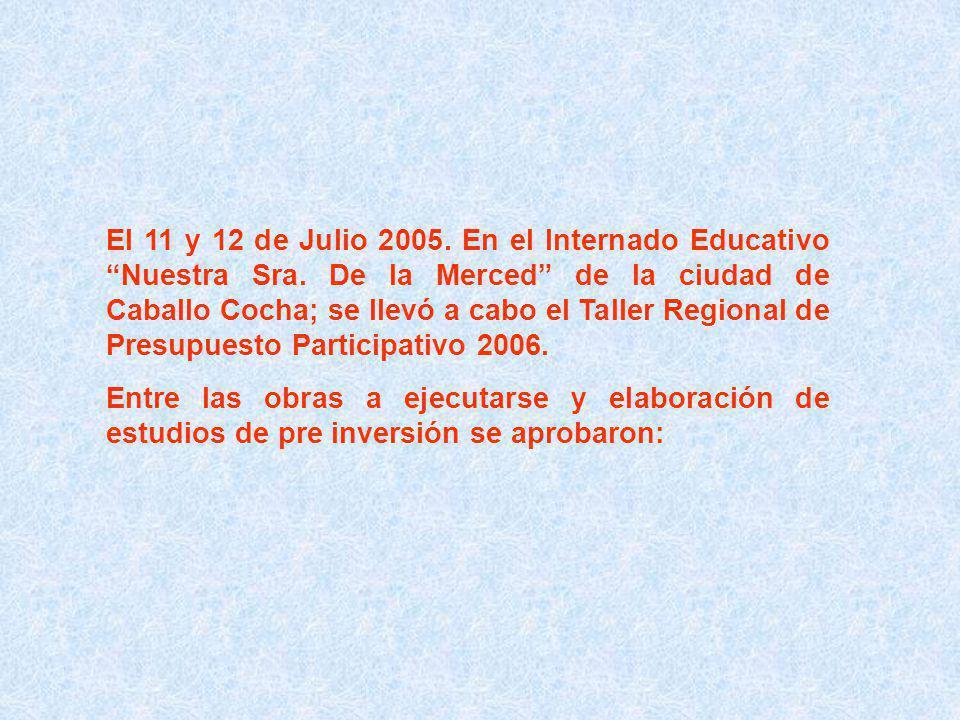 El 11 y 12 de Julio 2005. En el Internado Educativo Nuestra Sra.