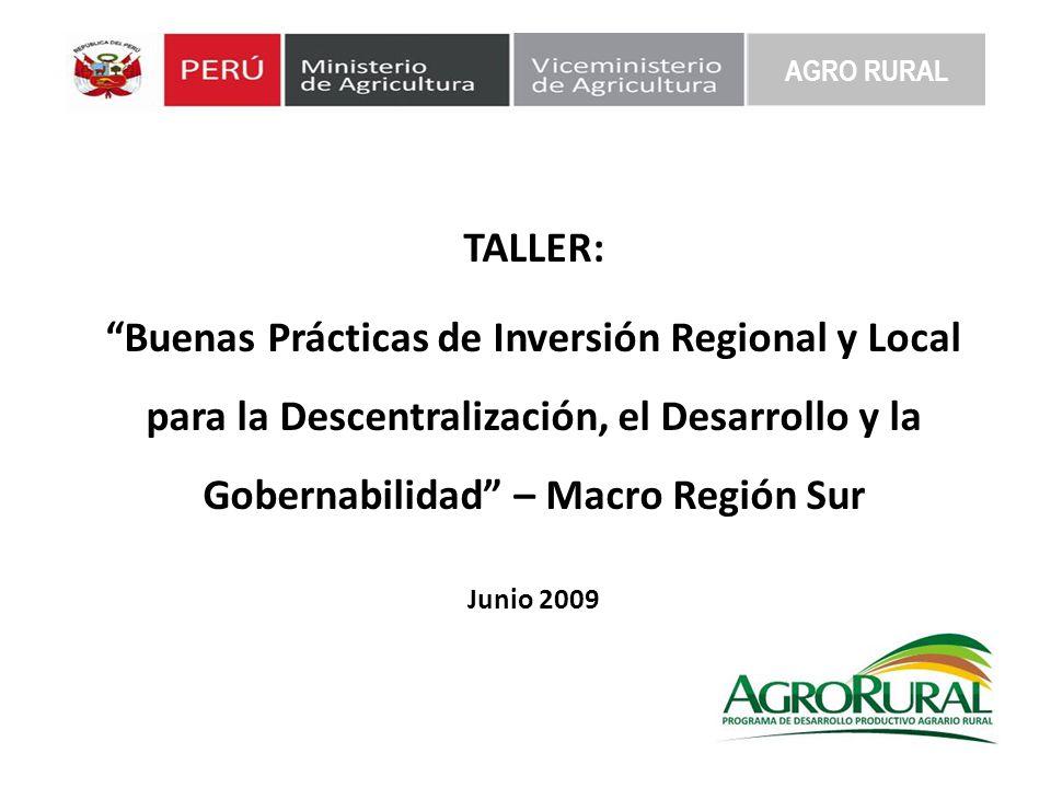 TALLER: Buenas Prácticas de Inversión Regional y Local para la Descentralización, el Desarrollo y la Gobernabilidad – Macro Región Sur Junio 2009 AGRO