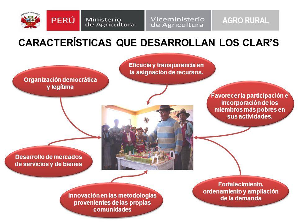 AGRO RURAL CARACTERÍSTICAS QUE DESARROLLAN LOS CLARS Eficacia y transparencia en la asignación de recursos. Organización democrática y legítima Favore