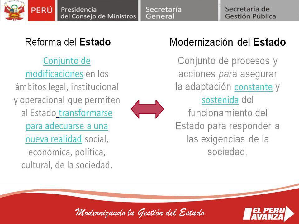 16 Modernizando la Gestión del Estado LEGISLACIÓN NACIONAL Ley N° 27658 Ley Marco de la Modernización de la gestión del Estado.