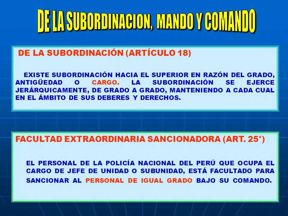 DE LA SUBORDINACIÓN (ARTÍCULO 18) EXISTE SUBORDINACIÓN HACIA EL SUPERIOR EN RAZÓN DEL GRADO, ANTIGÜEDAD O CARGO. LA SUBORDINACIÓN SE EJERCE JERÁRQUICA