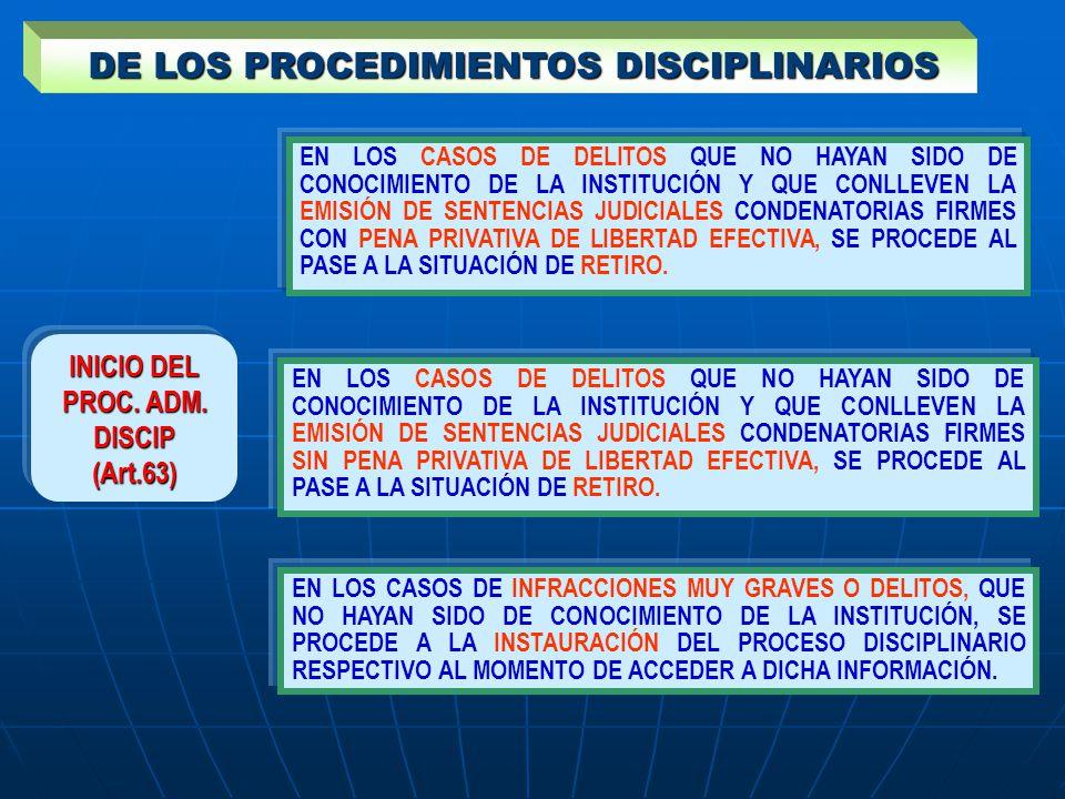 DE LOS PROCEDIMIENTOS DISCIPLINARIOS DE LOS PROCEDIMIENTOS DISCIPLINARIOS INICIO DEL PROC. ADM. DISCIP (Art.63) EN LOS CASOS DE DELITOS QUE NO HAYAN S