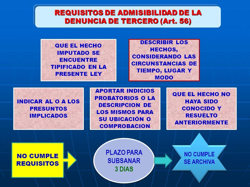 REQUISITOS DE ADMISIBILIDAD DE LA DENUNCIA DE TERCERO (Art. 56) QUE EL HECHO IMPUTADO SE ENCUENTRE TIPIFICADO EN LA PRESENTE LEY DESCRIBIR LOS HECHOS,