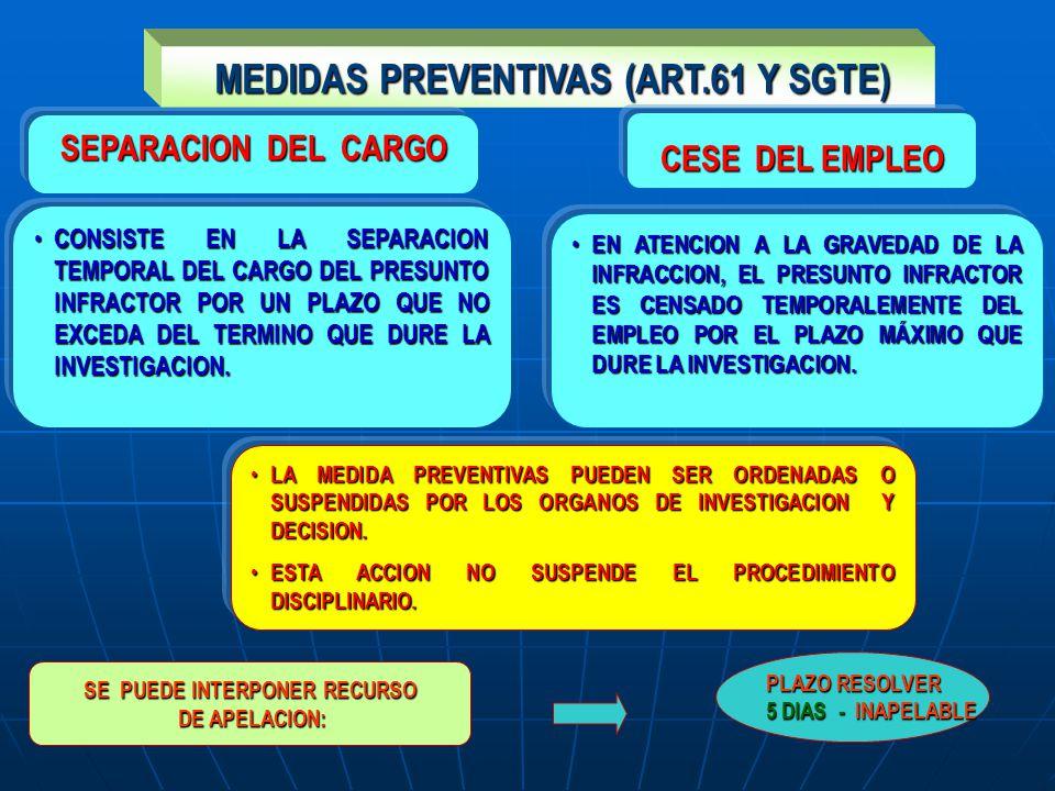 MEDIDAS PREVENTIVAS (ART.61 Y SGTE) MEDIDAS PREVENTIVAS (ART.61 Y SGTE) SEPARACION DEL CARGO CONSISTE EN LA SEPARACION TEMPORAL DEL CARGO DEL PRESUNTO INFRACTOR POR UN PLAZO QUE NO EXCEDA DEL TERMINO QUE DURE LA INVESTIGACION.