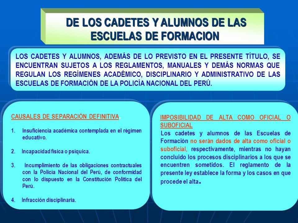 DE LOS CADETES Y ALUMNOS DE LAS ESCUELAS DE FORMACION DE LOS CADETES Y ALUMNOS DE LAS ESCUELAS DE FORMACION CAUSALES DE SEPARACIÓN DEFINITIVA. 1.Insuf