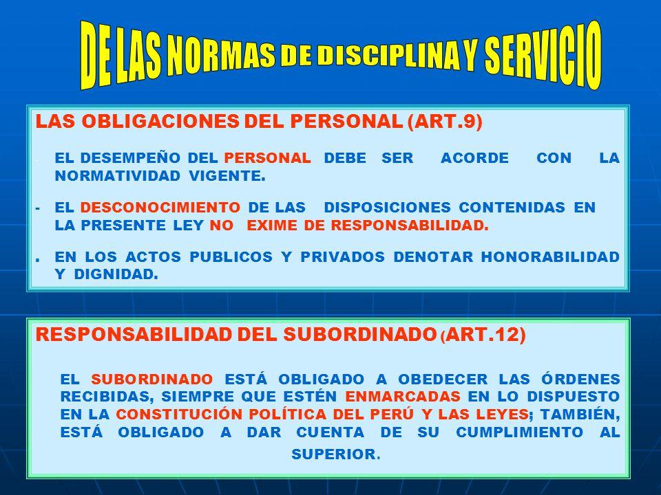 LAS OBLIGACIONES DEL PERSONAL (ART.9) - - EL DESEMPEÑO DEL PERSONAL DEBE SER ACORDE CON LA NORMATIVIDAD VIGENTE. -EL DESCONOCIMIENTO DE LAS DISPOSICIO