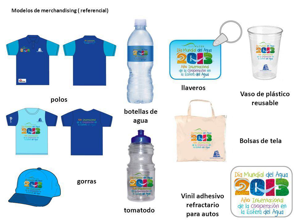 polos gorras botellas de agua llaveros tomatodo Bolsas de tela Vaso de plástico reusable Vinil adhesivo refractario para autos Modelos de merchandising ( referencial)