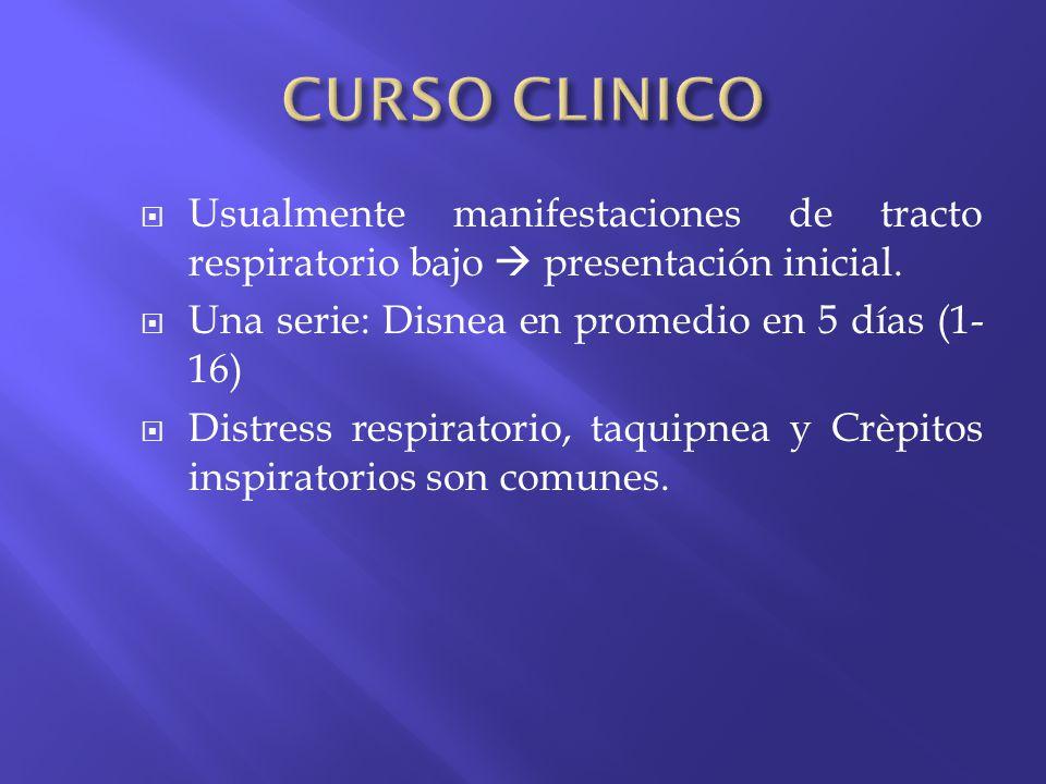 Usualmente manifestaciones de tracto respiratorio bajo presentación inicial. Una serie: Disnea en promedio en 5 días (1- 16) Distress respiratorio, ta