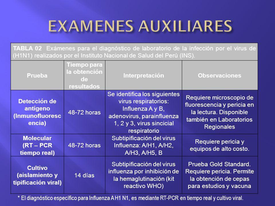 TABLA 02 Exámenes para el diagnóstico de laboratorio de la infección por el virus de (H1N1) realizados por el Instituto Nacional de Salud del Perú (IN