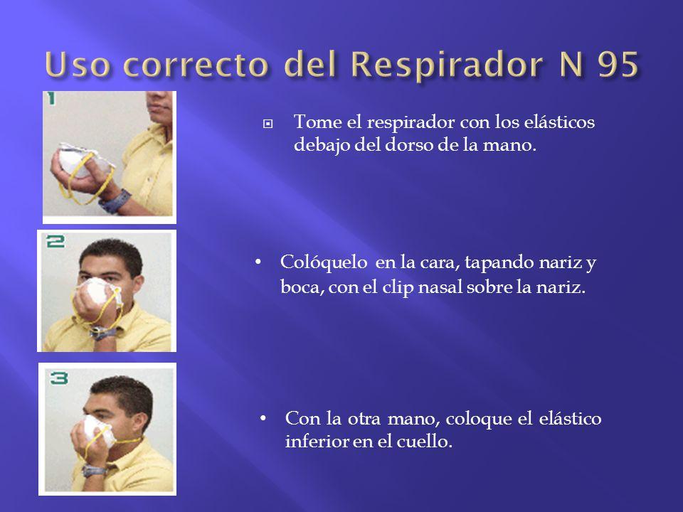 Tome el respirador con los elásticos debajo del dorso de la mano. Colóquelo en la cara, tapando nariz y boca, con el clip nasal sobre la nariz. Con la