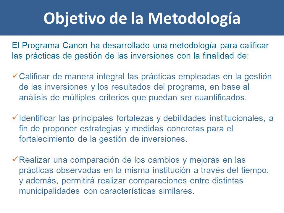 Objetivo de la Metodología El Programa Canon ha desarrollado una metodología para calificar las prácticas de gestión de las inversiones con la finalidad de: Calificar de manera integral las prácticas empleadas en la gestión de las inversiones y los resultados del programa, en base al análisis de múltiples criterios que puedan ser cuantificados.